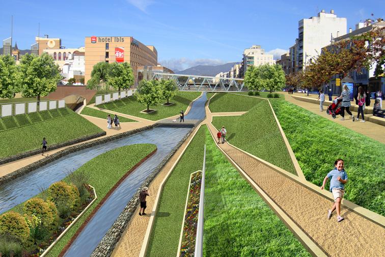concurso ordenación rio guadalmedina propuesta por estudio segui bajo la dirección del arquitecto José Seguí